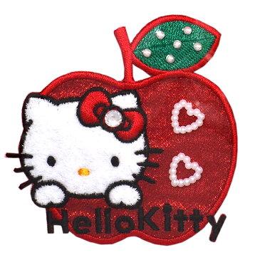 ハローキティ ワッペン 刺繍ワッペン キャラクター アイロンワッペン 縦6.6cm×横6.6cm キティちゃん Hello Kitty サンリオ アップリケ 手芸 正規品【メール便可】