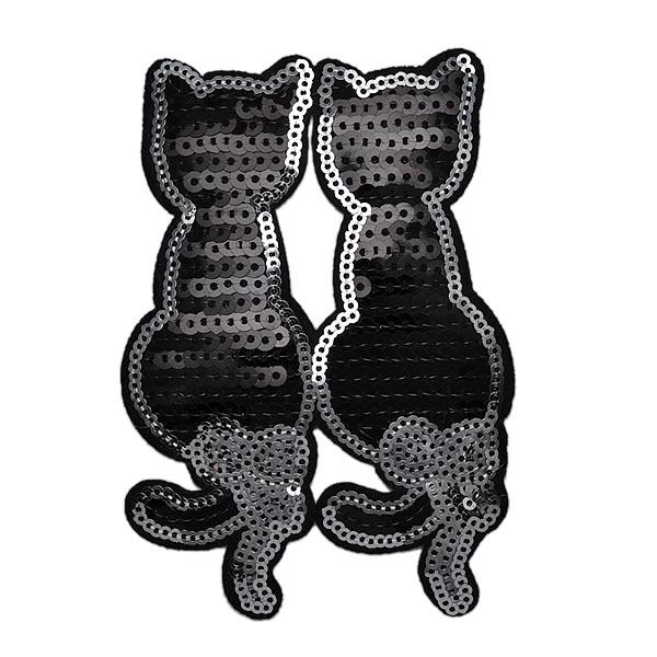 ワッペン 動物 スパンコールワッペン アイロン接着 縦12cm×横8.5cm 猫 ネコ ねこ 黒猫 キラキラワッペン ハンドメイド アイロンワッペン 手芸 デコ ダンス 入園 入学 【メール便可】