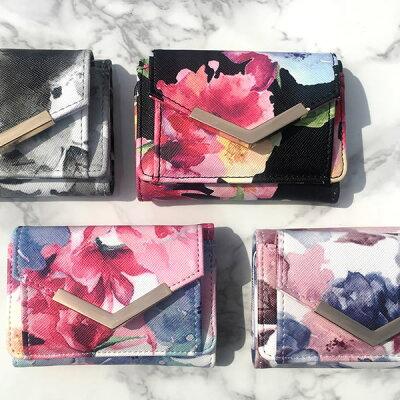 【24時間限定セール】【楽天ランキング1位】ミニ財布 小さい財布 財布 レディース コンパクト ミニウォレット 三つ折り 花柄 ボタニカル カード入れ 小銭入れ おしゃれ 可愛い ギフト プレゼント メール便で送料無料・・・ 画像2