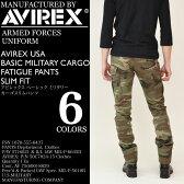 AVIREX (アビレックス アヴィレックス) AVIREX USA BASIC MILITARY CARGO FATIGUE SLIM FIT PANTS カーゴスリムパンツ アーミー 迷彩 メンズ 6166122 / 6166123 NEWモデル