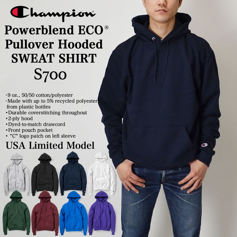 トップス, パーカー Champion Powerblend ECO Fleece Hoodie S700 USA