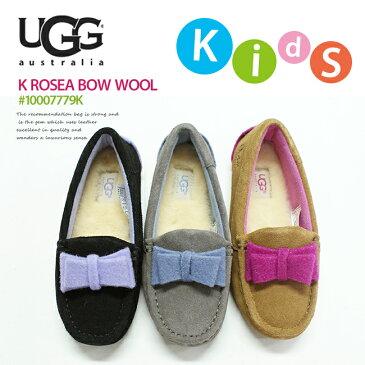 [安心正規]◆≪最新も入荷!≫UGG【アグ/アグー】]KIDS Rosea Bow Wool#1007779Kフェルトリボンムートンモカシン/KIDS/子供/BLK/CHE/GREY/キッズ/ムートン/ボア