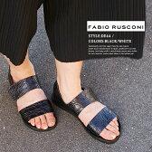 【安心正規】【FABIO RUSCONI】ファビオルスコーニ/ファビオ ルスコーニ #DE44イタリア製レザーエンボスサンダルアウトドアサンダル/レザー/ぺたんこ靴/オープントゥ/専用ボックス付き/