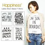 【Happiness10】ハピネス10#LadiesShortSleeveTShirts雑誌多数掲載!今季大注目!大人のロゴTシャツが入荷♪logo/Tシャツ/レディース/半袖/グラフィック/白/ホワイト/英字シンプル/700/001/181/879/890