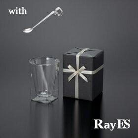 [スプーン付ギフト] RayES/レイエス ダブルウォールグラス RDS-002 300ml with SS-011本[1個入り・ラッピング・カード] 【あす楽】【スプーン】【マドラー】【ギフト】【プレゼント】【結婚祝い】【誕生日】【楽ギフ_包装選択】