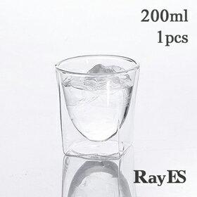 ダブルウォールグラス RayES/レイエス RDS-004 200ml [1個入り・単品] 焼酎グラス ロックグラス ウィスキー 日本酒【あす楽】【耐熱ガラス】【タンブラー】【ギフト】【プレゼント】