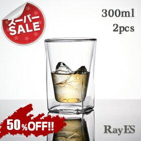 保冷、保温、結露しにくい、おしゃれなスクエアデザイン二重グラス。焼酎グラス・ロックグラス...