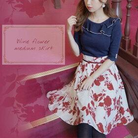 Raylily(レイリリー)ワインフラワーミディスカート花柄スカートミディ丈小花柄スカート