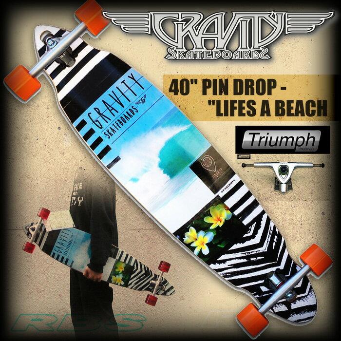 GRAVITY グラビティ PINDROP 40 LIFES A BEACH 【ロング スケートボード ロンスケ】【ピンテール クルーザー】【日本正規品】【あす楽】:プロショップ RBS