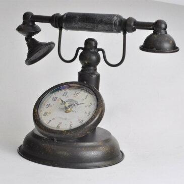 置き時計 時計 アンティーク調 電話 インテリア ラウンド(代引不可)【ポイント10倍】