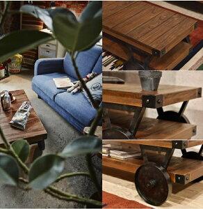 テーブルリビングテーブルセンターテーブル木製おしゃれ人気車輪付きローテーブル古木風カフェアイアン幅106()【ポイント10倍】【送料無料】【smtb-f】
