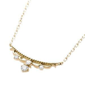 【鑑別書付】K18イエローゴールド天然ダイヤモンドネックレスダイヤ0.10ctネックレスダイヤ4ストーン