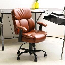 オフィスチェア/プレジデントチェア 【ブラウン】 幅60cm ハイバック 肘掛け キャスター付き 張地:合成皮革 『マンチェスター』【代引不可】