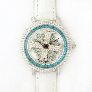 アンコキーヌネオ40mmバイカラーミニクロスシルバーベゼルインナーベゼルブルーホワイトベルトイール正規品(腕時計・グルグル時計)【ポイント10倍】