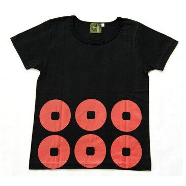戦国武将Tシャツ 【真田幸村 六連銭】 レディース Lサイズ 半袖 綿100% 日本製 ブラック(黒)
