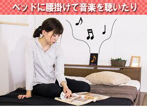 棚テーブル付きフロアベッドセミダブル二つ折りポケットコイルスプリングマットレス付【ブラック】【】【ポイント10倍】