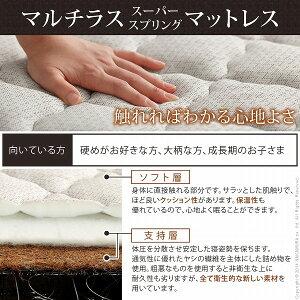脚付きすのこベッドマーロウシングルマルチラススーパースプリングマットレスセット