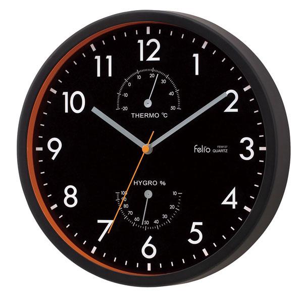 温湿計付掛時計 FEW137 エアハウス /20点入り(代引き不可)【送料無料】