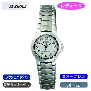 【AUREOLE】オレオールレディース腕時計SW-457L-8アナログ表示薄型超硬質合金ベゼル日常生活用防水/10点入り(き)【ポイント10倍】【RCP】