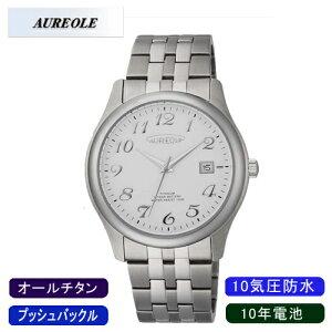 【AUREOLE】オレオールメンズ腕時計SW-483M-3アナログ表示10年電池オールチタン10気圧防水/1点入り(き)【ポイント10倍】【RCP】