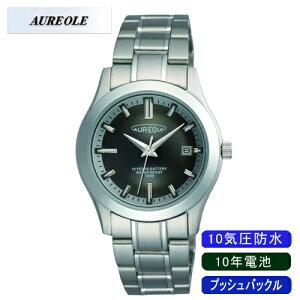 【AUREOLE】オレオールメンズ腕時計SW-490M-1アナログ表示10年電池10気圧防水/5点入り(き)【ポイント10倍】【RCP】
