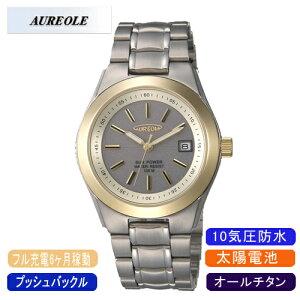 【AUREOLE】オレオールメンズ腕時計SW-474M-2アナログ表示オールチタンソーラー10気圧防水/5点入り(き)【ポイント10倍】【RCP】