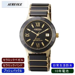 【AUREOLE】オレオールメンズ腕時計SW-481M-2アナログ表示セラミック10年電池日常生活用防水/10点入り(き)【ポイント10倍】【RCP】