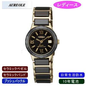 【AUREOLE】オレオールレディース腕時計SW-481L-2アナログ表示セラミック10年電池日常生活用防水/5点入り(き)【ポイント10倍】【RCP】