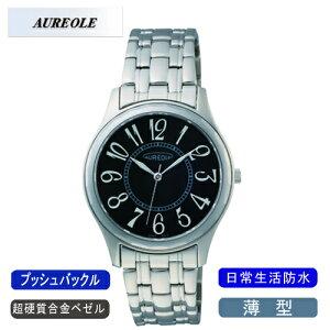 【AUREOLE】オレオールメンズ腕時計SW-491M-1アナログ表示薄型超硬質合金ベゼル日常生活用防水/5点入り(き)【ポイント10倍】【RCP】