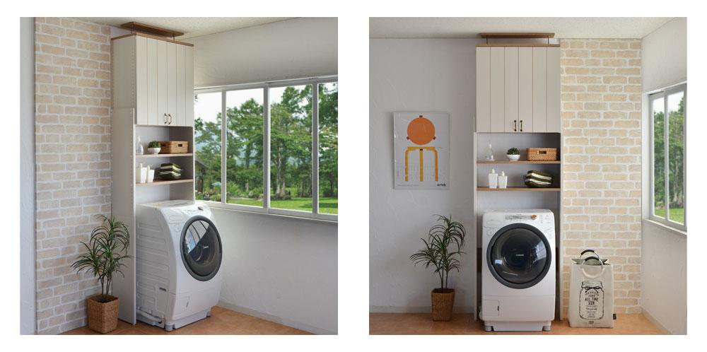 つっぱり洗濯機ラックカリーナ洗濯機ラックつっぱりランドリーラックサニタリー収納ランドリー収納脱衣所洗濯棚付き扉(代引不可)【送料無料】