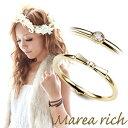 マレアリッチ Marea rich K10 リボンモチーフ・ダイヤ 2WAY ピンキーリング ゴールド×ダイヤモンド 3号 10KJ-17【ポイント10倍】