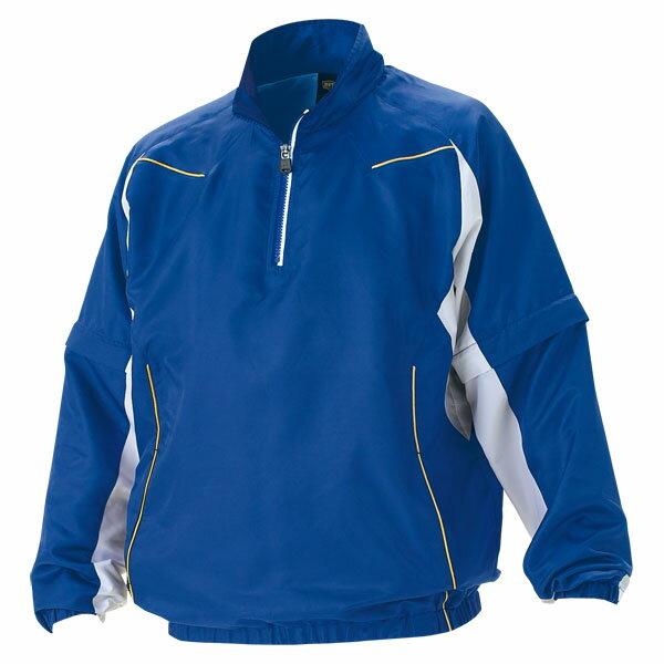 ZETT(ゼット) 野球 長袖/半袖切り替え式ハーフジップジャンパー BOV515 2511 ロイヤルブルー×ホワイト L