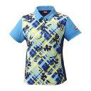 ニッタク 卓球アパレル FURACHECKS SHIRT(フラチェックスシャツ)ゲームシャツ(レディース) NW2181 【カラー】ブルー 【サイズ】M(代引不可)