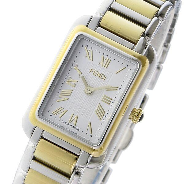 フェンディ FENDI クラシコ レクタンギュラー クオーツ レディース 腕時計 F703124000 ホワイト:リコメン堂ファッション館