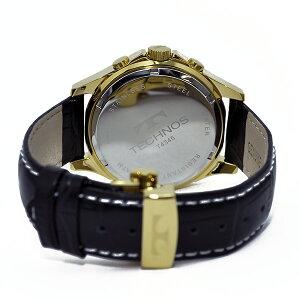 テクノスTECHNOSクオーツメンズクロノ腕時計T4345GSシルバー【送料無料】【_包装】