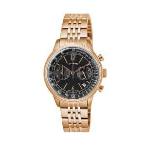ゾンネSONNEヒストリカルコレクションクロノクオーツメンズ腕時計HI002PGブラック【送料無料】【_包装】