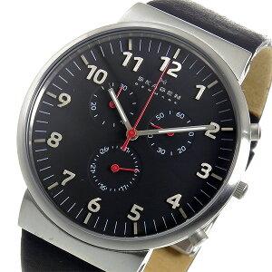 スカーゲンSKAGENアンカークロノクオーツメンズ腕時計SKW6100ブラック【送料無料】【_包装】