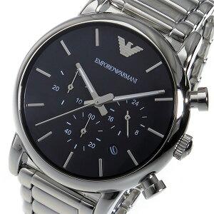 エンポリオアルマーニクオーツクロノメンズ腕時計AR1853ブラック【送料無料】【_包装】