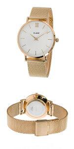 クルースCLUSEミニュイメッシュベルト33mmレディース腕時計CL30013ホワイト/ローズゴールド【送料無料】【_包装】