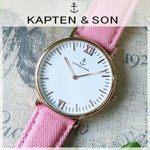 キャプテン&サンKAPTEN&SON36mmホワイト/ピンクキャンバスレディース腕時計GD-KS36WHPC【送料無料】【_包装】
