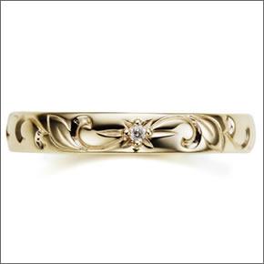 マレアリッチHawaiianseriesK10ハワイアンモチーフリングゴールド×ダイヤモンド10号11KJ-06【送料無料】