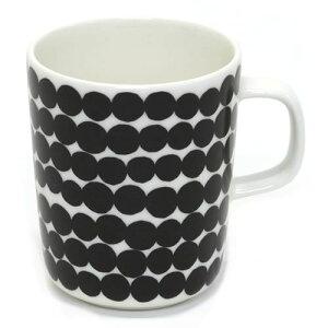 マリメッコ SIIRTOLAPUUTARHA MUG 250ml 063296 190 white/black 手描き風 ドット柄 マグカップ