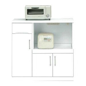 キッチンカウンター幅90cm二口コンセント/可動棚/キャスター付き日本製ホワイト(白)【完成品】【】