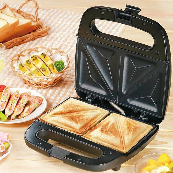 Wホットサンドメーカーブラック両面焼き食パンプレスサンドメーカーパン焼きホットサンドサンドウィッチ朝食KDHS-012B