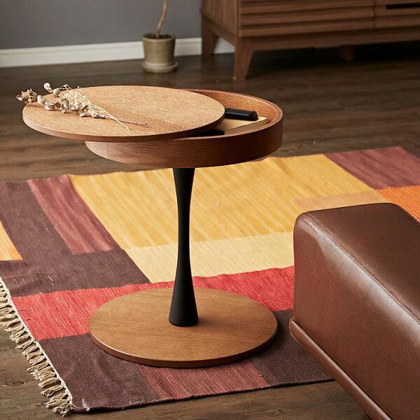 オーク材使用サイドテーブル円形直径40cm木製天板下収納ナイトテーブルおしゃれ便利丸型テーブル収納カフェ(代引不可)