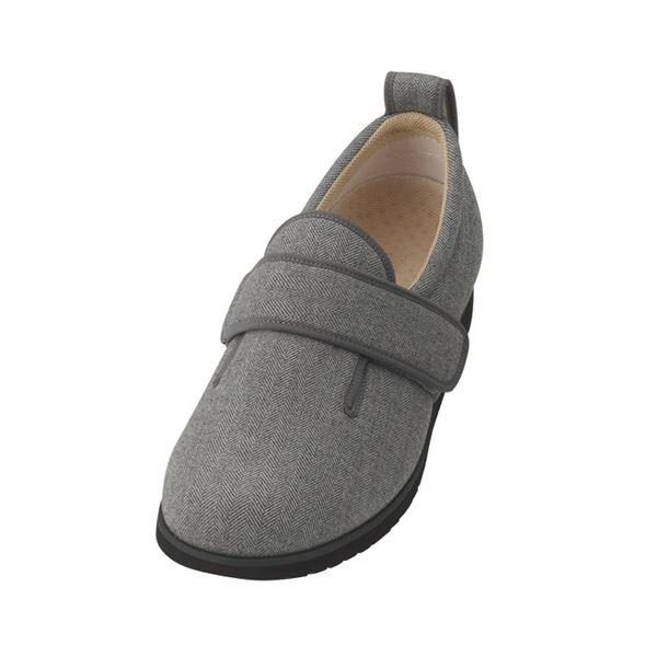 介護靴 施設・院内用 ダブルマジック2ヘリンボン 3E 1037 片足 徳武産業 あゆみシリーズ /4L (26.0〜26.5cm) グレー 左足