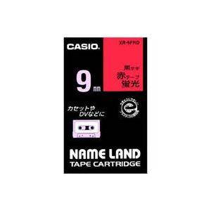 (業務用50セット)カシオCASIO蛍光テープXR-9FRD赤に黒文字9mm×50セット