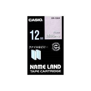 (業務用50セット)カシオCASIO白文字テープXR-12AX透明に白文字12mm×50セット