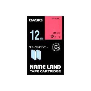 (業務用50セット)カシオCASIOラベルテープXR-12RD赤に黒文字12mm×50セット