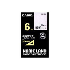 (業務用50セット)カシオCASIO透明テープXR-6X透明に黒文字6mm×50セット